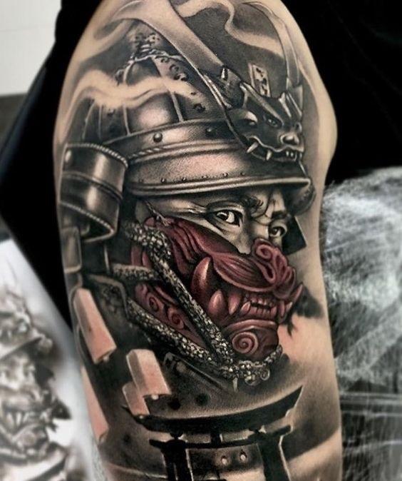 Эскизы тату самурай на руку 009