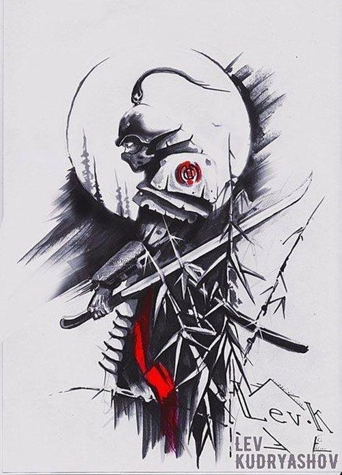 Эскизы тату самурай на руку 010