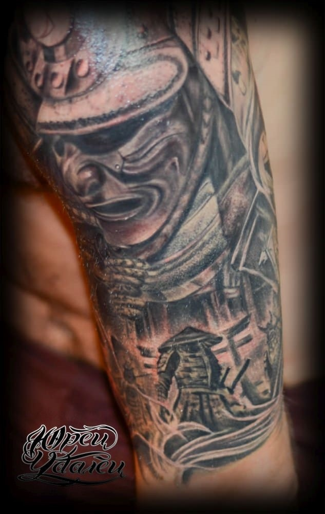 Эскизы тату самурай на руку 013