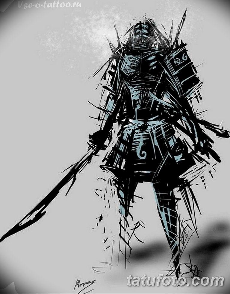 Эскизы тату самурай на руку 016