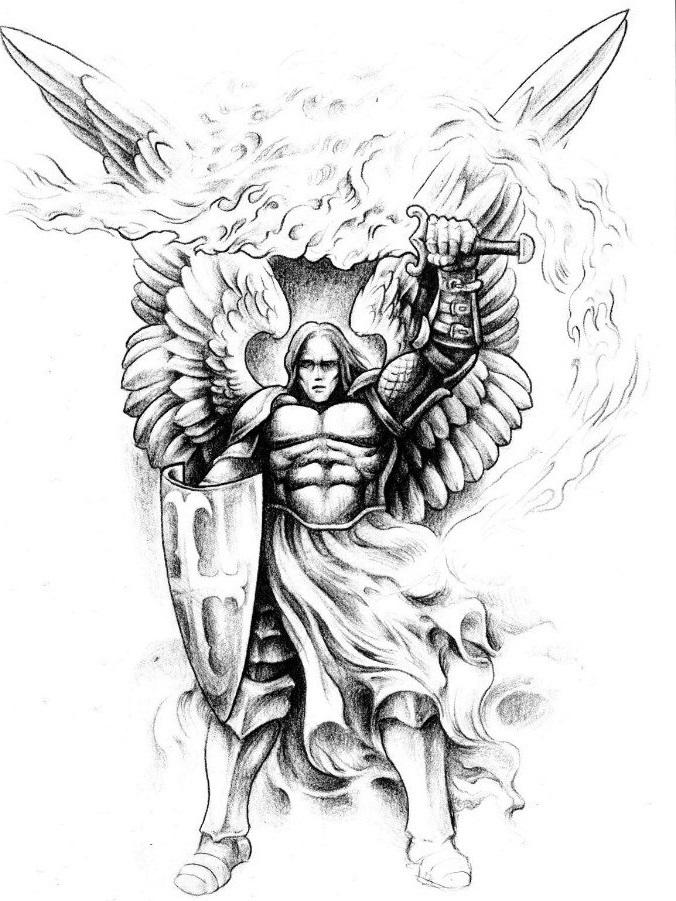 Эскиз архангела тату 023