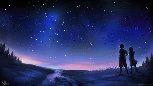 аниме арты звездное небо 001