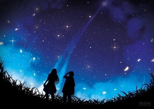 аниме арты звездное небо 002
