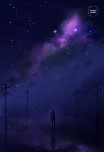 аниме арты звездное небо 003