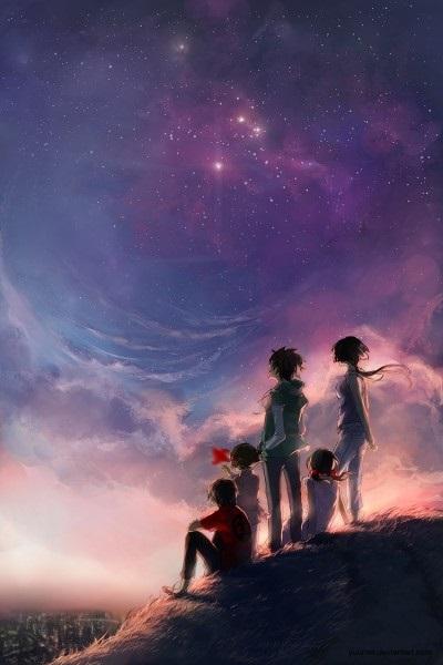 аниме арты звездное небо 004