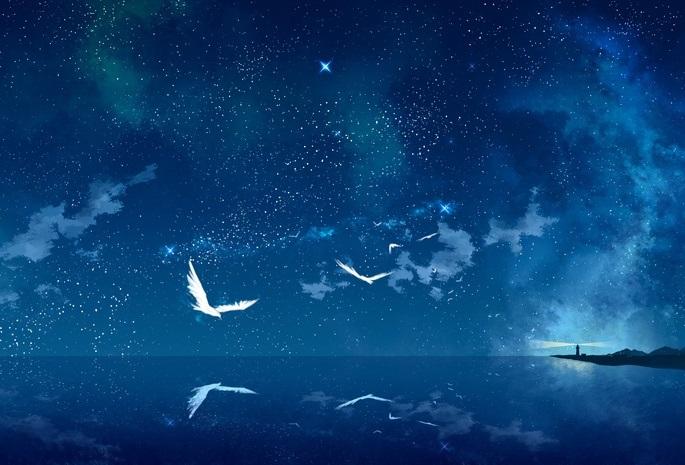 аниме арты звездное небо 012