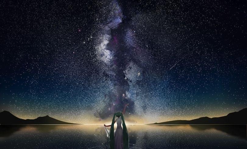 аниме арты звездное небо 013
