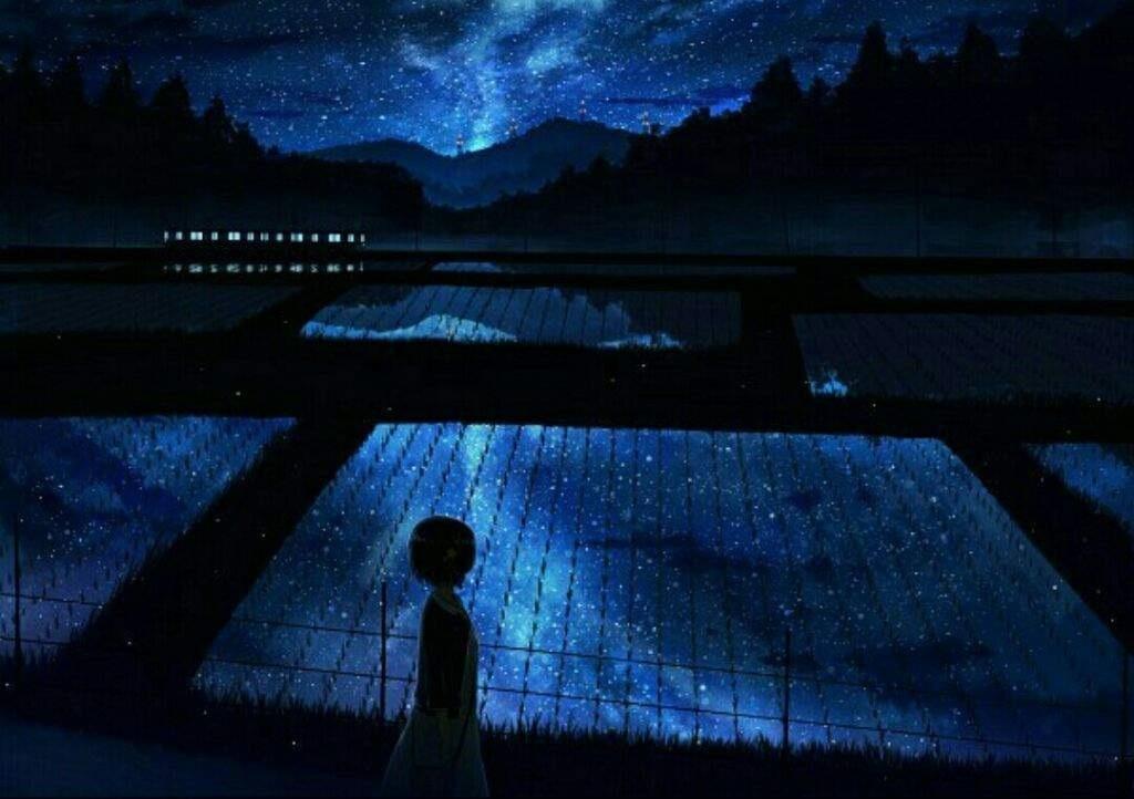 аниме арты звездное небо 014