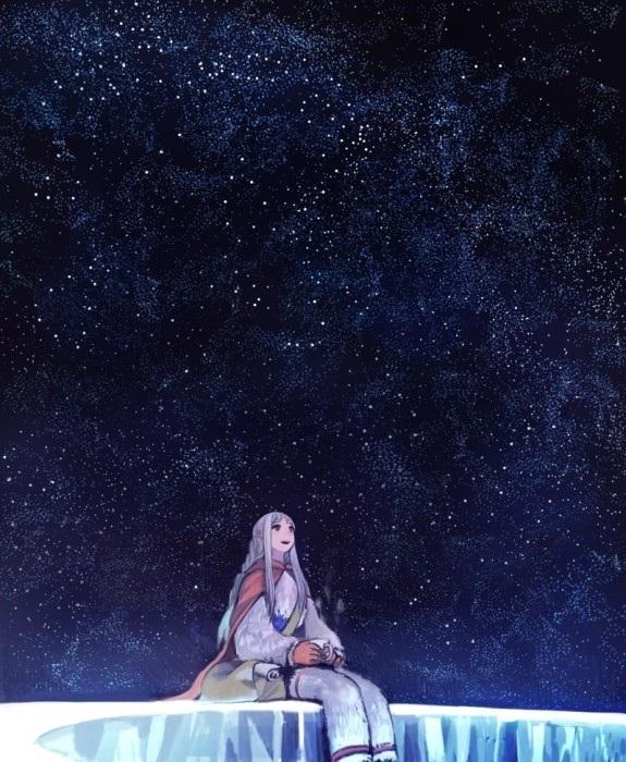 аниме арты звездное небо 016