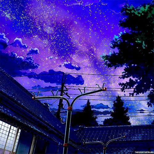 аниме арты звездное небо 017