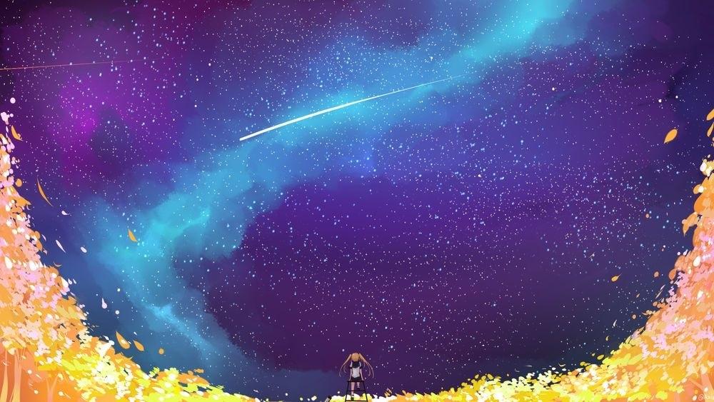 аниме арты звездное небо 018