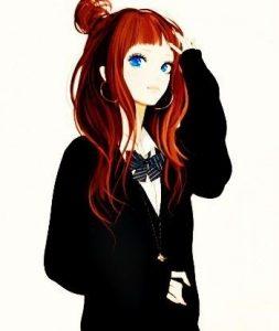 аниме девушка с красными волосами 018
