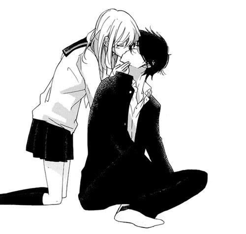 арты аниме парочки черно белые 021