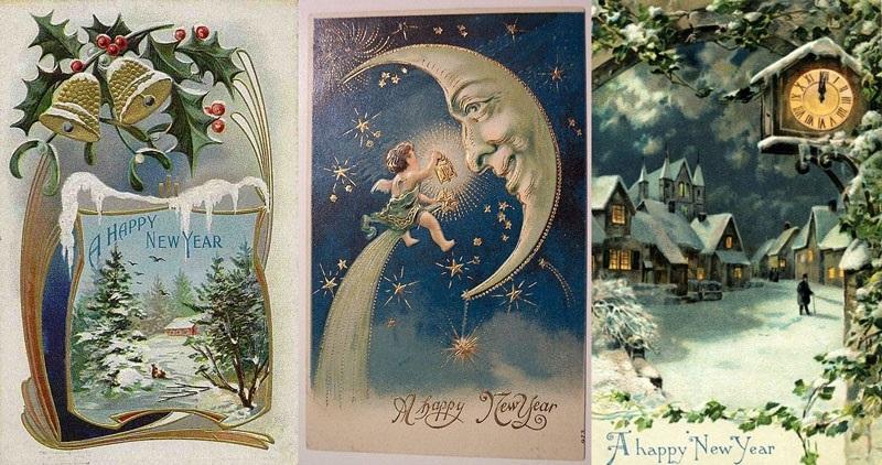 винтажные открытки на новый год 010