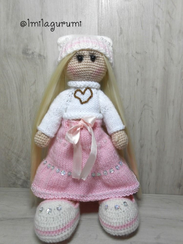 вязанная кукла большеножка 007