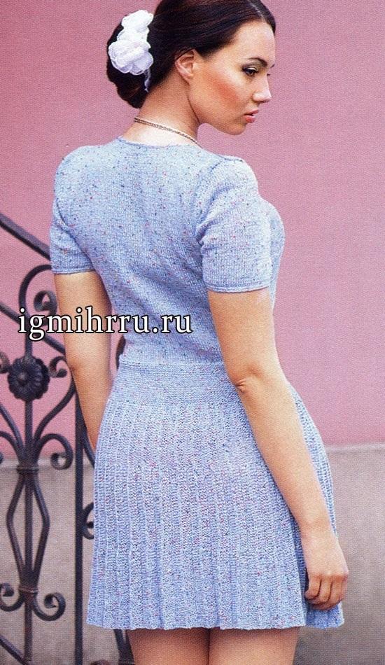 вязаное платье с юбкой плиссе 001