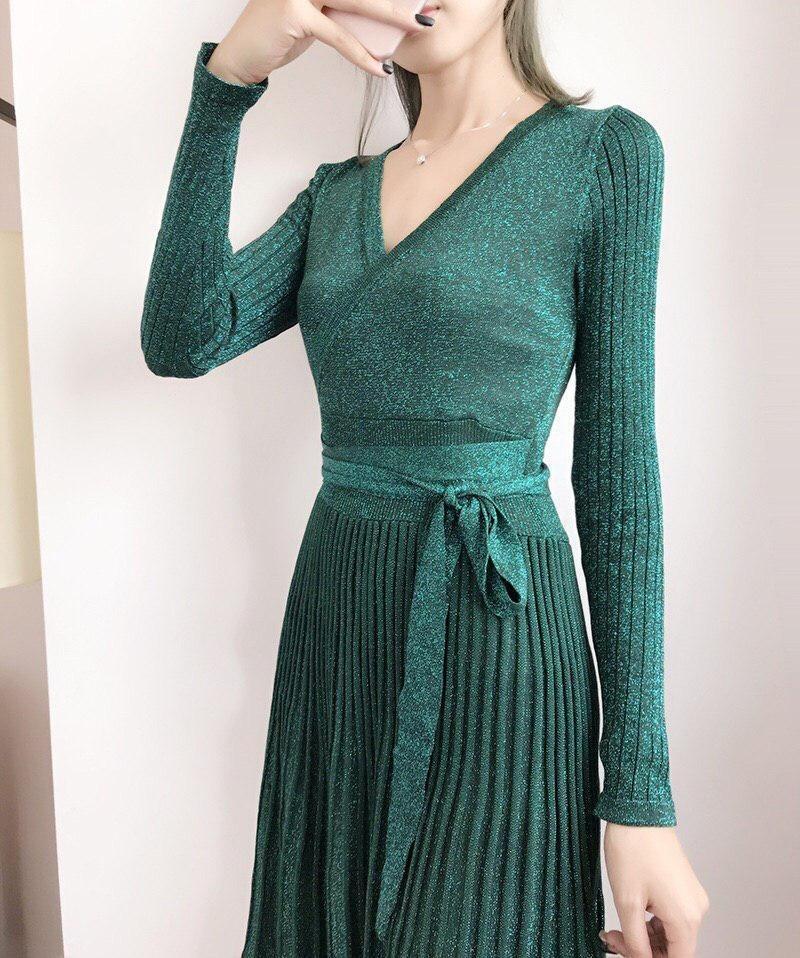 вязаное платье с юбкой плиссе 002
