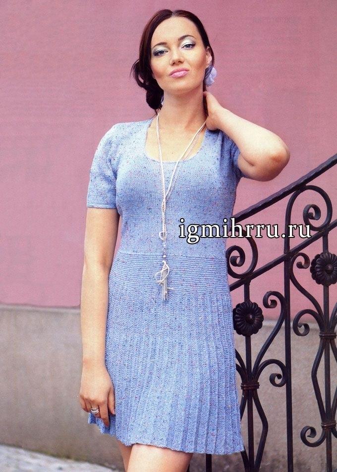вязаное платье с юбкой плиссе 003