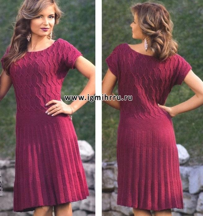 вязаное платье с юбкой плиссе 004