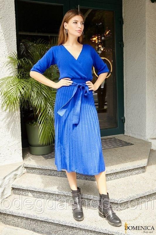 вязаное платье с юбкой плиссе 005