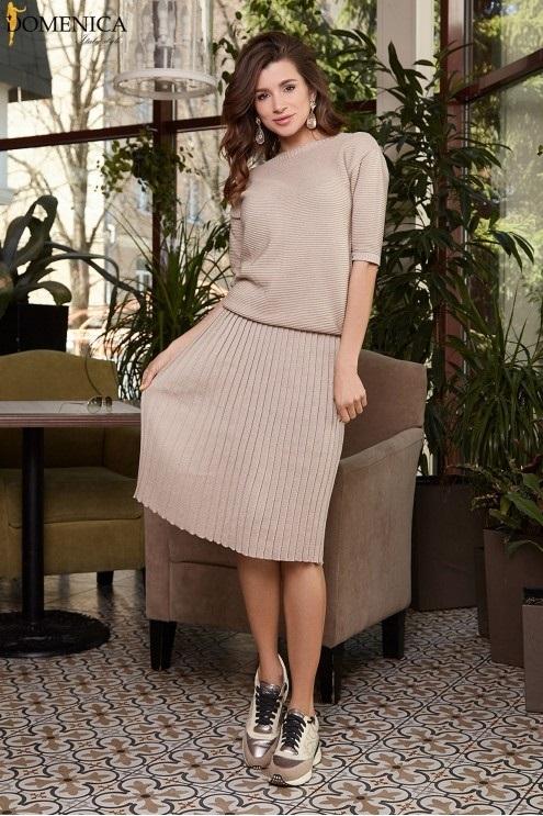 вязаное платье с юбкой плиссе 006