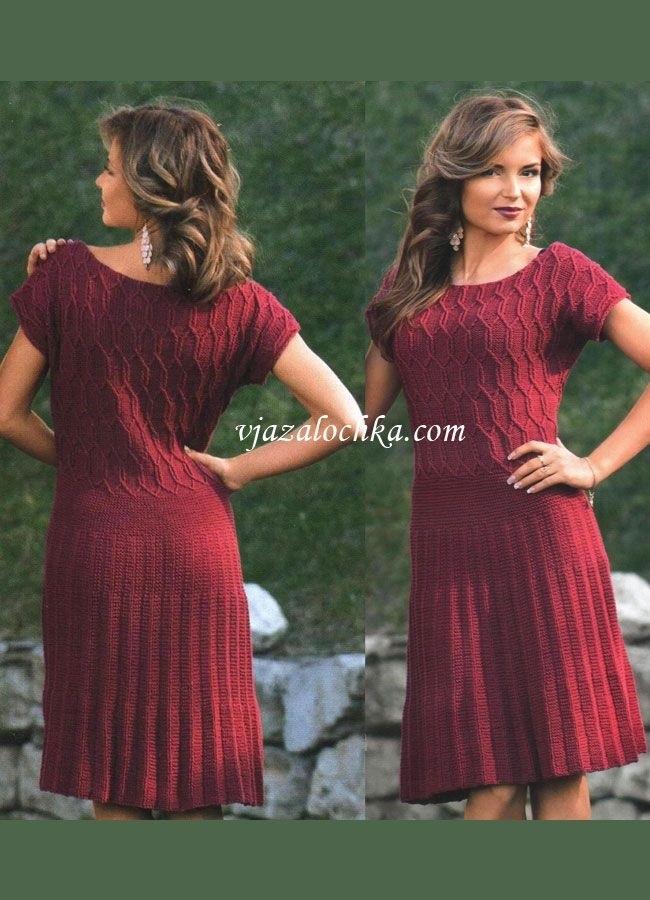 вязаное платье с юбкой плиссе 007