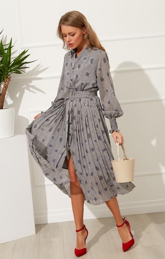 вязаное платье с юбкой плиссе 008