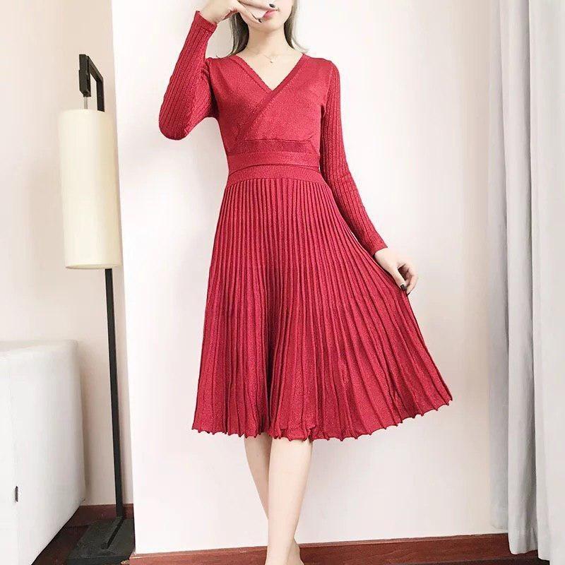 вязаное платье с юбкой плиссе 009