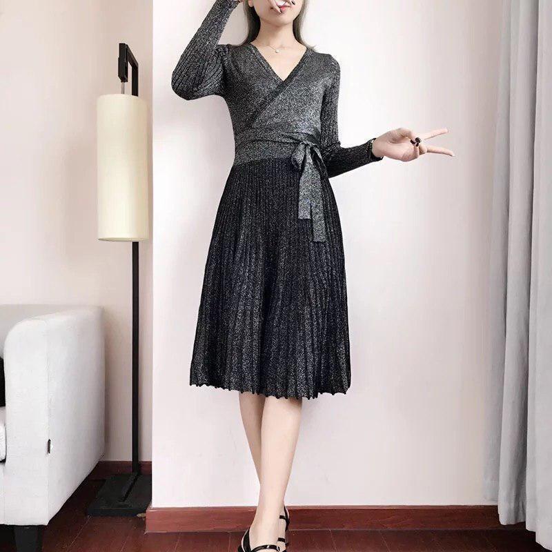 вязаное платье с юбкой плиссе 010