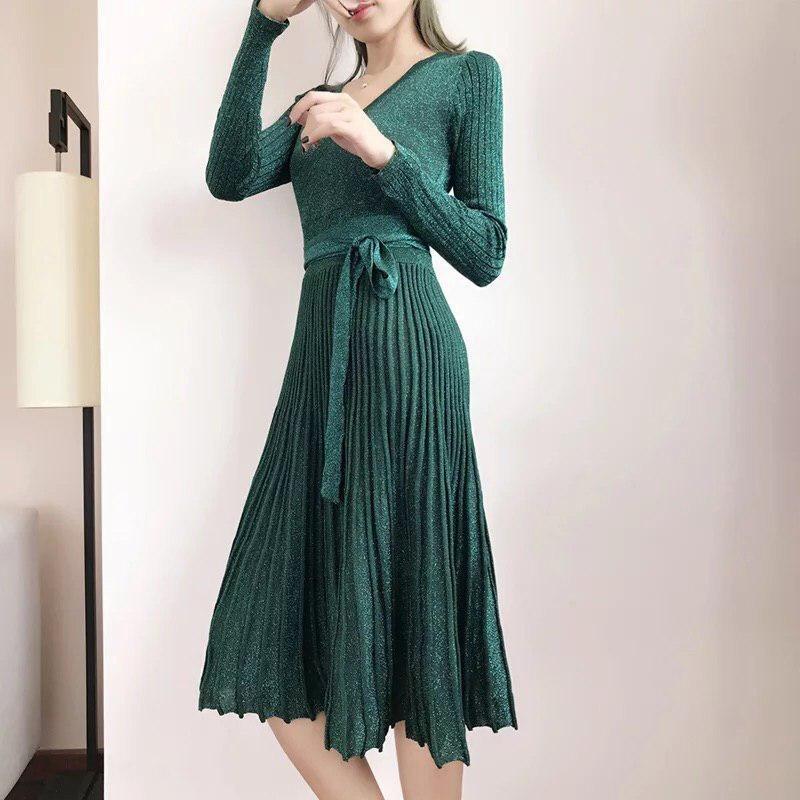 вязаное платье с юбкой плиссе 011