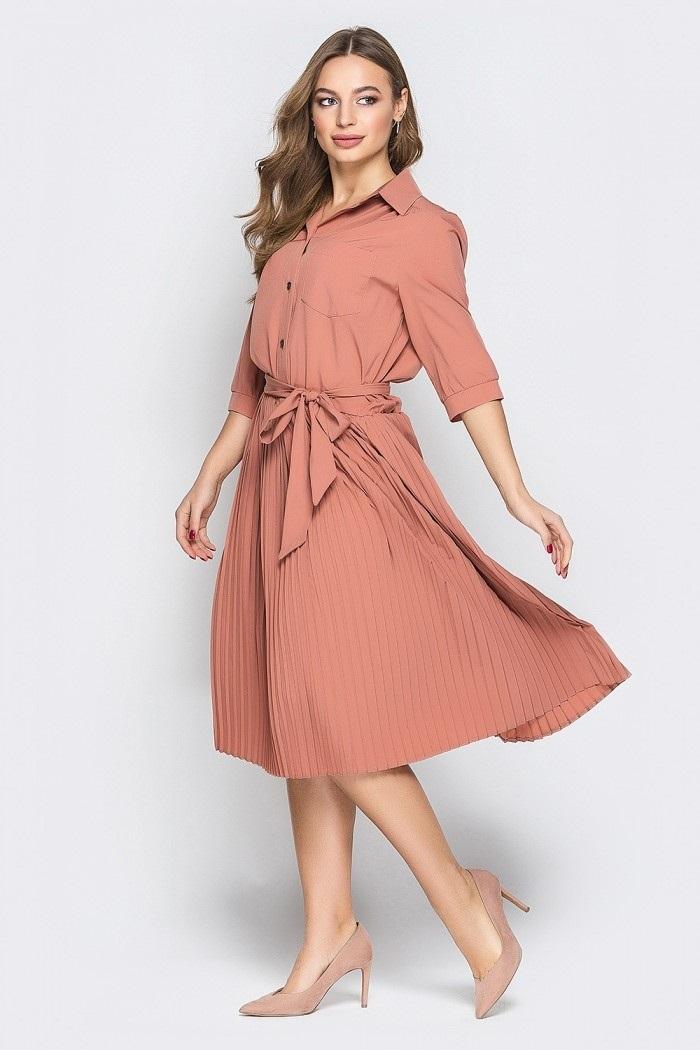 вязаное платье с юбкой плиссе 013