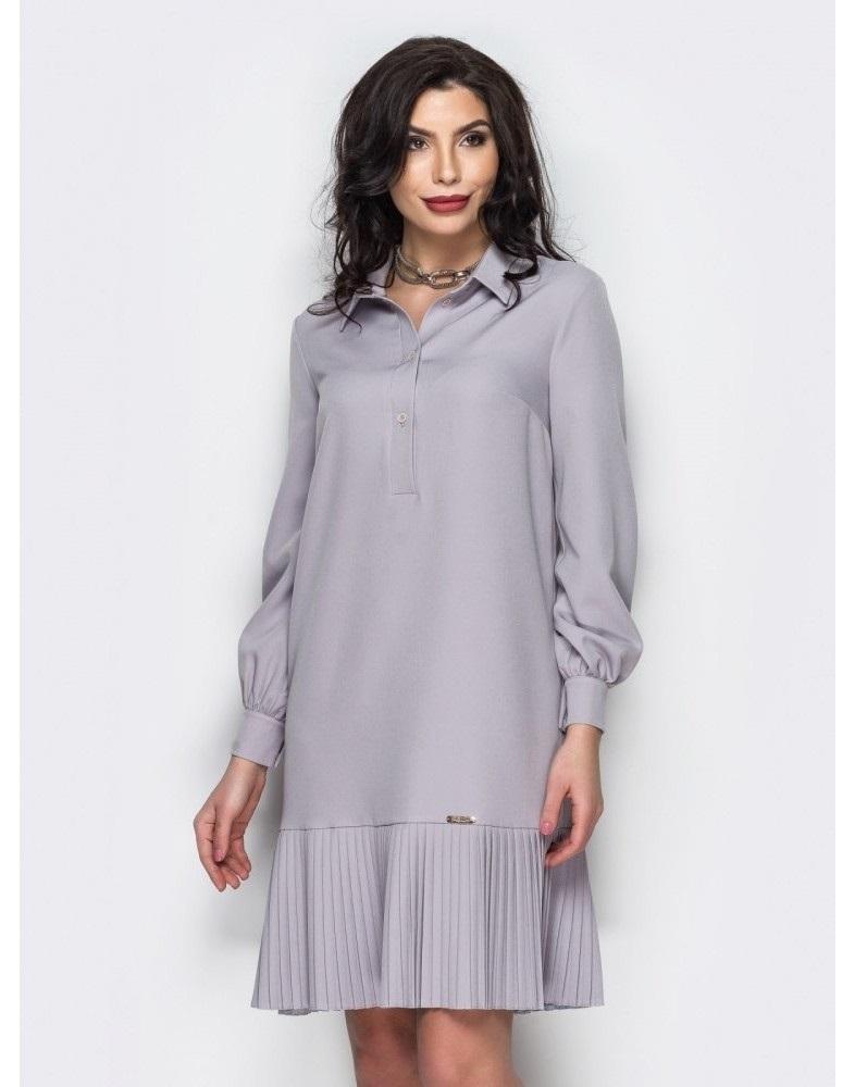 вязаное платье с юбкой плиссе 015