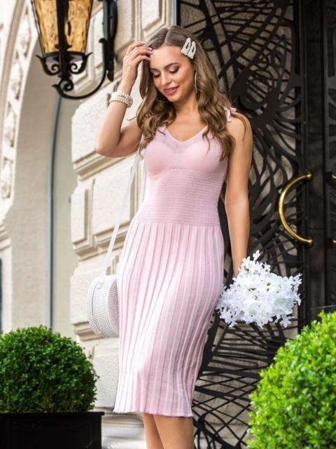 вязаное платье с юбкой плиссе 016