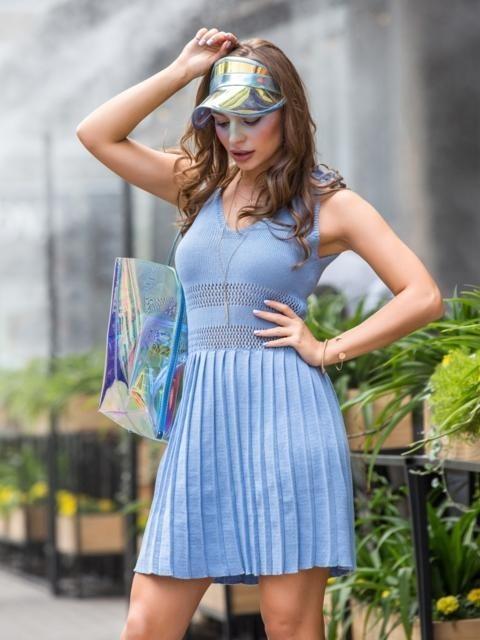 вязаное платье с юбкой плиссе 017