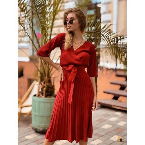 вязаное платье с юбкой плиссе 019