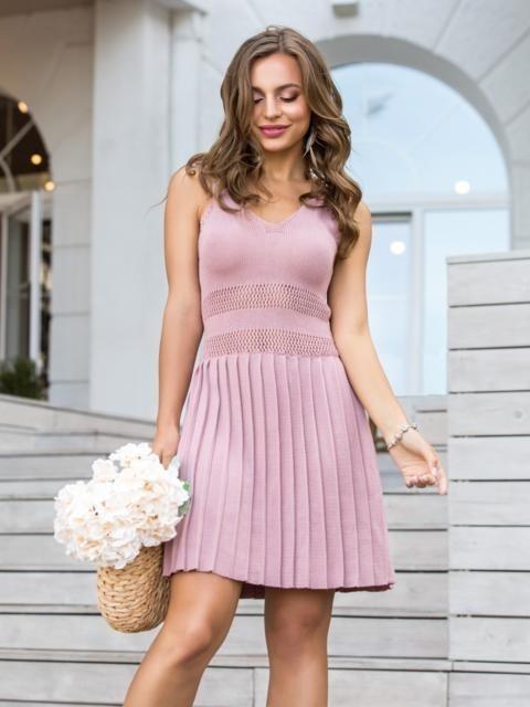 вязаное платье с юбкой плиссе 022