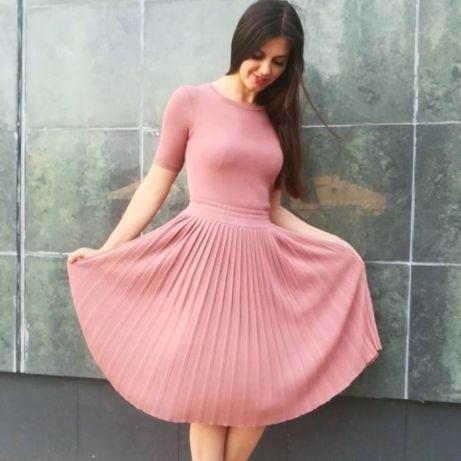 вязаное платье с юбкой плиссе 023