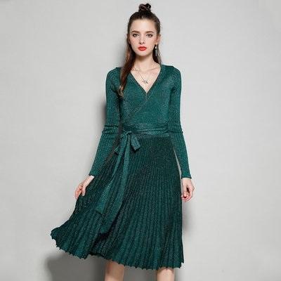 вязаное платье с юбкой плиссе 024