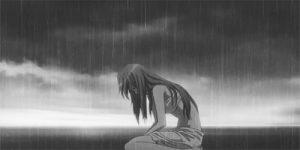 грусть девочка аниме 024