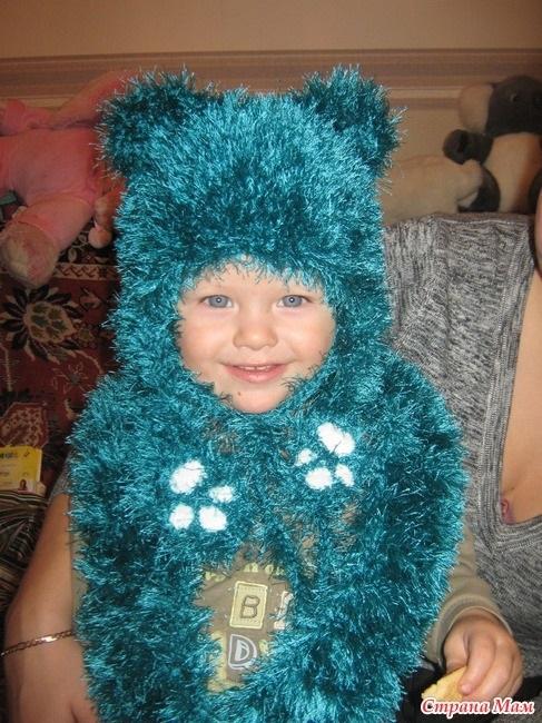 детская шапочка спицами из травки 001
