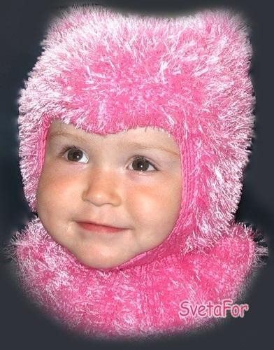 детская шапочка спицами из травки 007