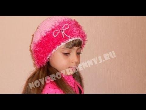 детская шапочка спицами из травки 022