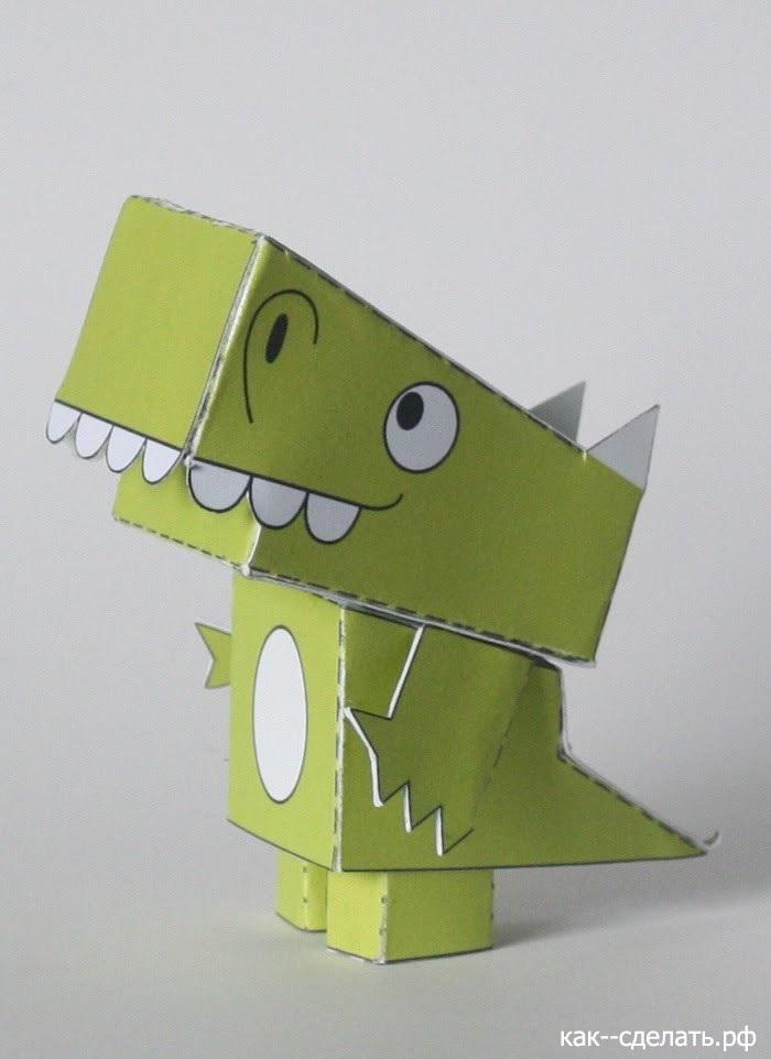 динозавр своими руками из картона 004