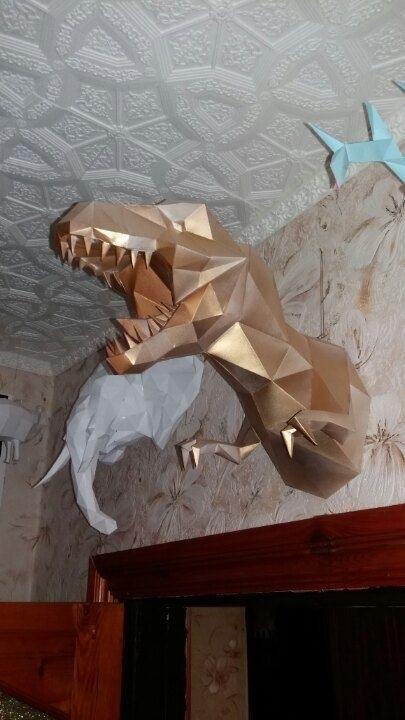динозавр своими руками из картона 007