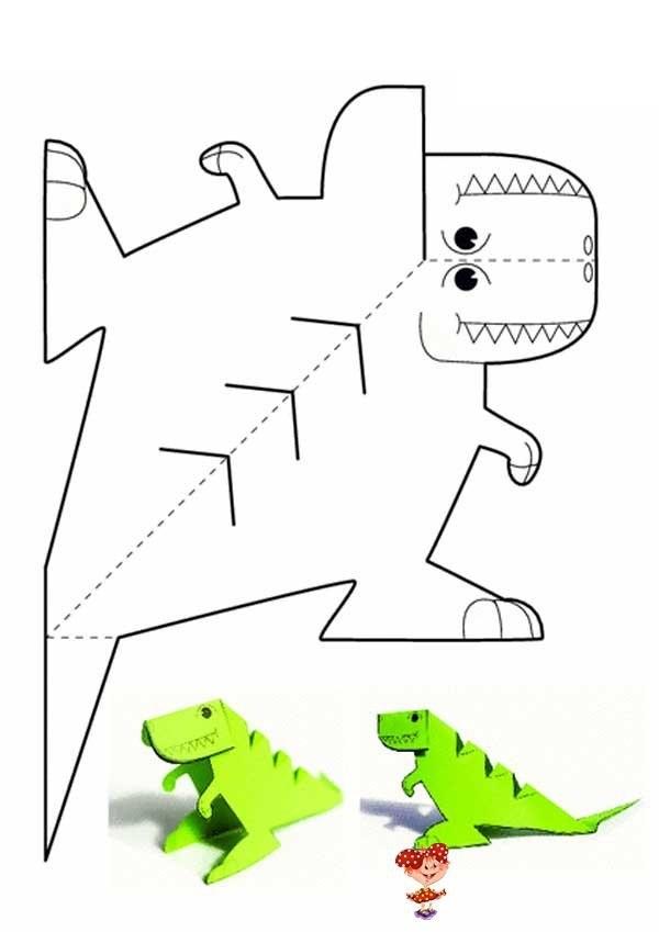 динозавр своими руками из картона 012