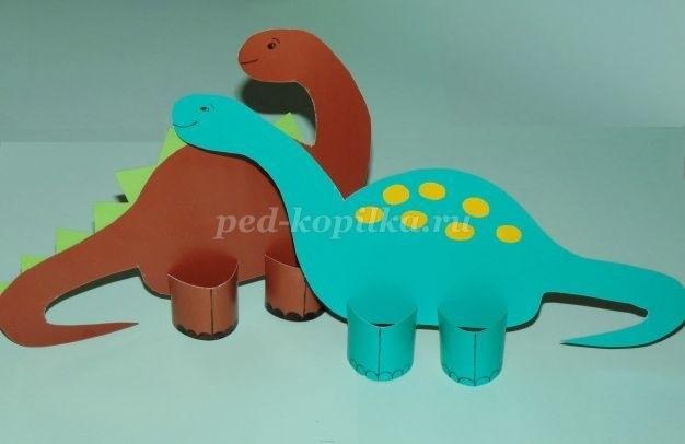 динозавр своими руками из картона 015