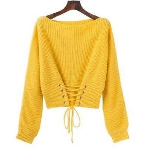 желтый вязаный пуловер 020