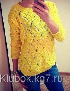 женский желтый свитер спицами 022