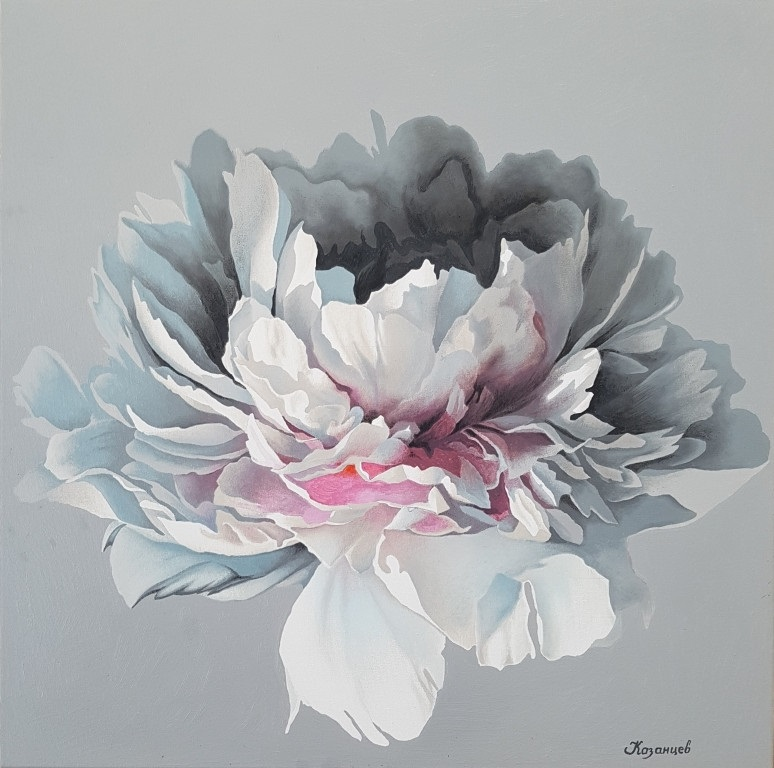 живопись цветы на белом фоне 001