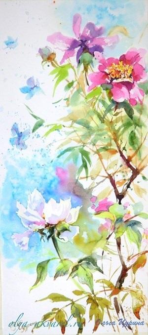 живопись цветы на белом фоне 008